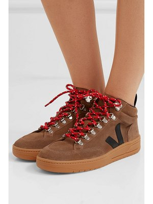 VEJA net sustain roraima suede and leather high-top sneakers