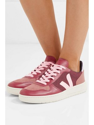 VEJA v-10 leather, suede and tweed sneakers