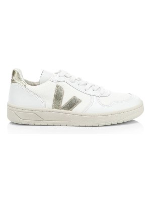 VEJA v-10 mesh leather low-top sneakers