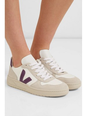 VEJA v-10 rubber and leather-trimmed mesh and suede sneakers