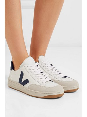 VEJA v-12 leather-trimmed mesh and nubuck sneakers