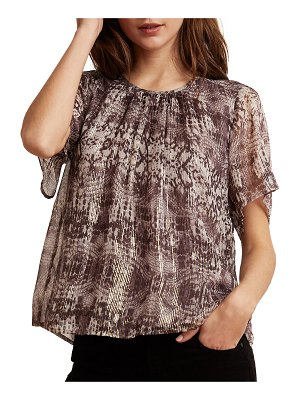 Velvet Arianna Metallic Snake-Print Short-Sleeve Top