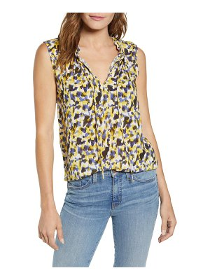 Velvet by Graham & Spencer ruffle split neck sleeveless top
