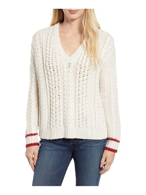Velvet by Graham & Spencer tipped cable sweater