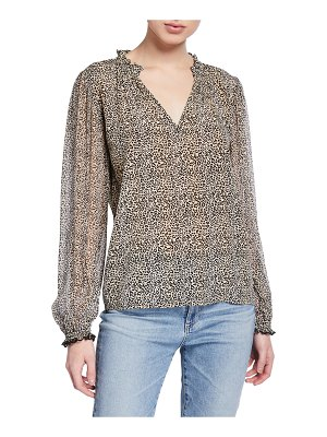 Velvet Mel Leopard-Print Long-Sleeve Top