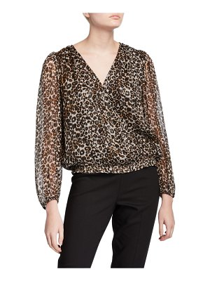Velvet Melanie Leopard-Print Metallic Long-Sleeve Blouse
