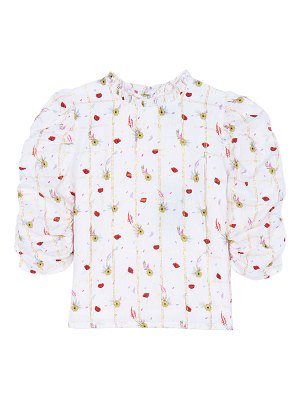 Velveteen Dionne Floral Windowpane Ruched-Sleeve Button-Back Top