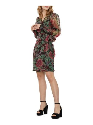 Vero Moda abelia floral print long sleeve wrap minidress