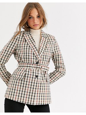 Vero Moda checked blazer with belt-multi