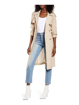 Vero Moda poppy kenzie pinstripe cotton blend trench coat