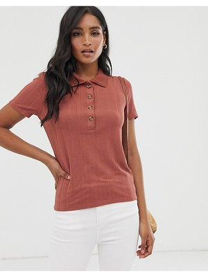 Vero Moda ribbed button front polo-brown
