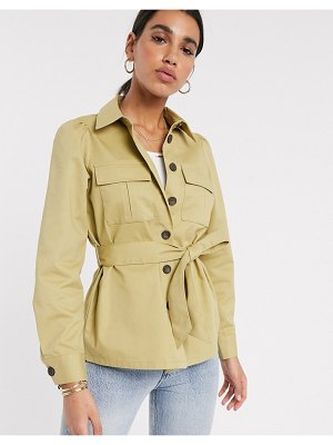 Vero Moda safari shacket with tie waist in olive-green