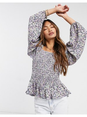 Vero Moda shirred blouse with peplum in purple floral