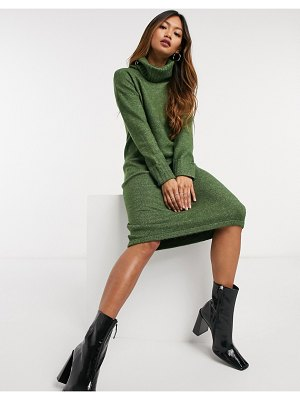 Vero Moda sweater dress with roll neck in khaki-green