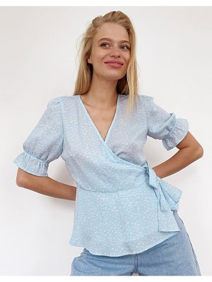 Vero Moda wrap blouse with puff sleeve in blue ditsy-multi