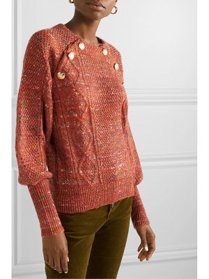 Veronica Beard adelaida button-embellished cable-knit sweater