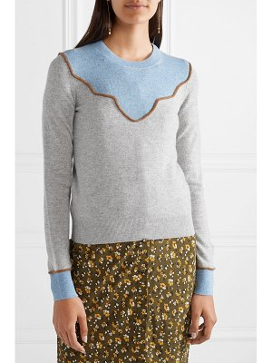 Veronica Beard atty color-block cashmere sweater