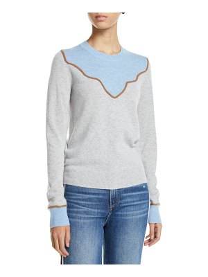 Veronica Beard Atty Crewneck Colorblock Cashmere Pullover Sweater