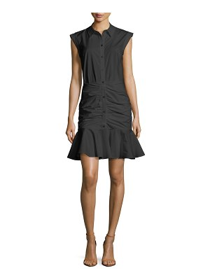 Veronica Beard Bell Sleeveless Ruched Stretch Poplin Dress