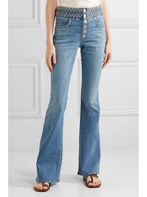 Veronica Beard beverly braid-detailed high-rise flared jeans