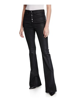 Veronica Beard Beverly High-Rise Flared Button-Front Jeans
