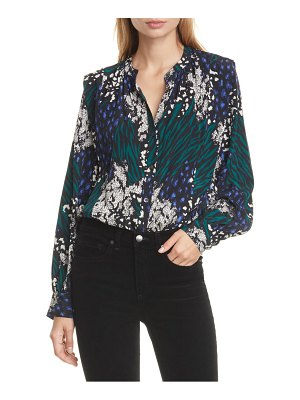 Veronica Beard buckley mixed print stretch silk top
