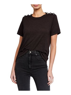 Veronica Beard Carla Short-Sleeve Crewneck Tee with Buttoned Shoulders