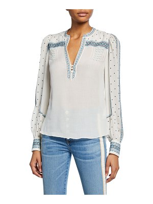 Veronica Beard Carta Embroidered Long-Sleeve Blouse