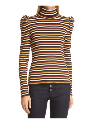 Veronica Beard cedar stripe puff sleeve stretch cotton turtleneck top