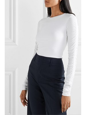 Veronica Beard clement ruched ribbed stretch-modal top