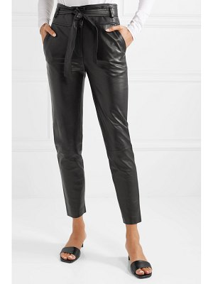 Veronica Beard faxon belted leather slim-leg pants