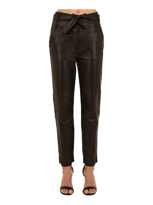 Veronica Beard Faxon belted straight leg leather pants