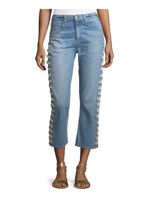 Veronica Beard Ines Straight-Leg Girlfriend-Style Jeans with Lace-Up Sides