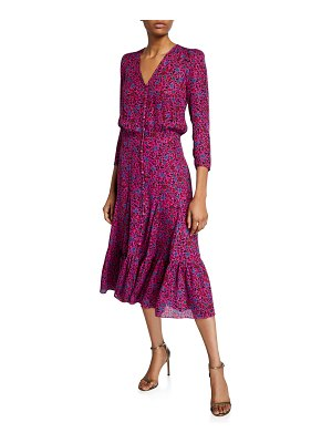 Veronica Beard Lasanna 3/4-Sleeve Floral Midi Dress