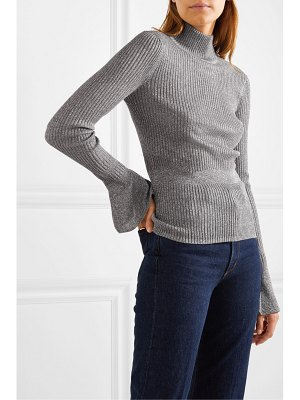 Veronica Beard lilia metallic ribbed-knit turtleneck sweater