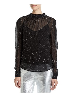 Veronica Beard Melling Embellished Silk Long-Sleeve Top