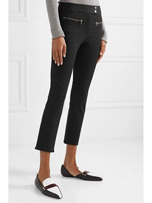 Veronica Beard metro cropped zip-embellished stretch-twill flared pants