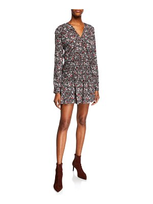 Veronica Beard Naomi V-Neck Long-Sleeve Floral-Print Mini Dress