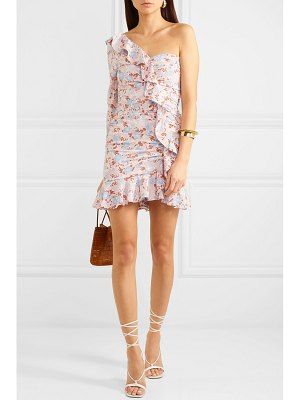 Veronica Beard one-shoulder ruffled floral-print silk-blend georgette mini dress
