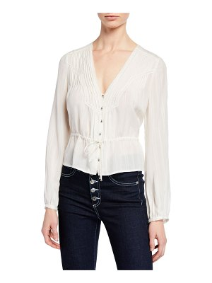 Veronica Beard Phoebe Long-Sleeve Lace Pintuck Blouse