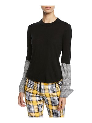 Veronica Beard Roscoe Crewneck Wool Sweater with Plaid Sleeves