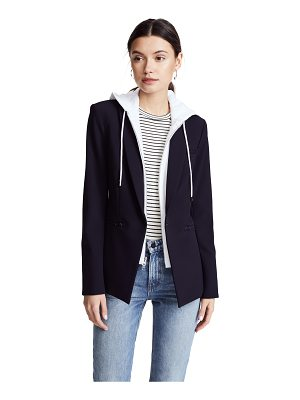 Veronica Beard scuba jacket with white hoodie dickey