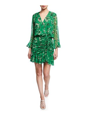 Veronica Beard Sean Floral-Print Ruched Flounce Dress