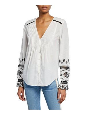 Veronica Beard Siona Embroidered Button-Front Top