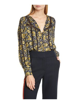 Veronica Beard tarry crochet trim silk blouse