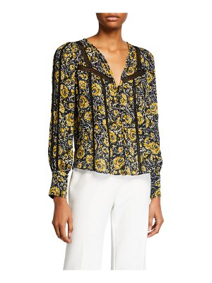 Veronica Beard Tarry Printed Lace-Inset Blouse