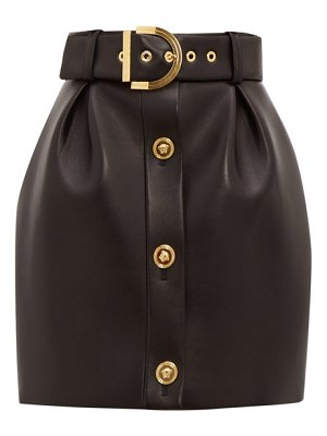 VERSACE belted leather mini skirt