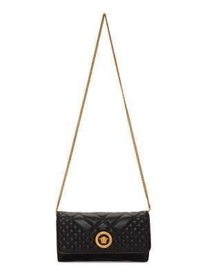 VERSACE black quilted medusa tribute evening bag