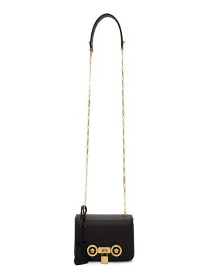 VERSACE black small icon tribute flap bag