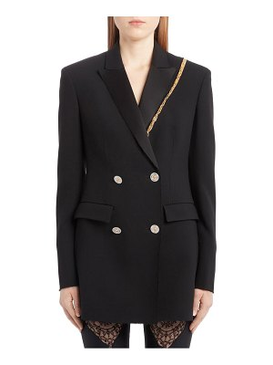 VERSACE chain trim double breasted crepe cady blazer